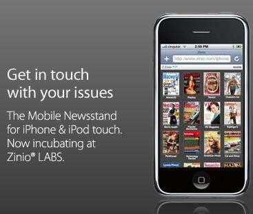 Zinio en iPhone